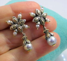 Gorgeous JH John Hardy Sterling Silver 18K Gold Pearl Dangle Pierced Earrings