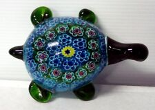 Turtle Coloured  Multicoloured Glass Ornament or Paperweight  - 5 cm high
