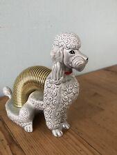 More details for vintage marston grey ceramic poodle letter desk organizer collectible cali/usa