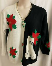 NWT STORYBOOK KNITS BLACK & WHITE CHRISTMAS CARDIGAN POINSETTIA & CAT SZ L/XL