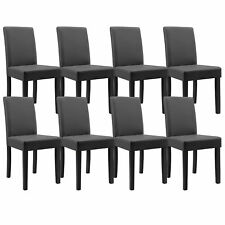 8x [en.casa]® Chaise de salle à manger gris foncé cuir-synthétique rembourrée
