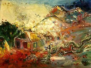 "VTG 1991 OIL CANVAS PAINTING ""DREAM"" BY ARMENIAN GUMRY ARTIST ""ARUTUNYAN SASHA"""