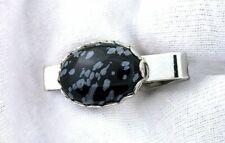Cab Gemstone Tie Clip Tie Bar Eptt551 1 1/4 Inch Oval 18x13 Snowflake Obsidian