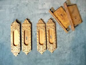 """Extremely Rare """"Veroccio"""" Antique Pocket Door Hardware Set Complete"""