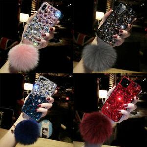 For Samsung S21 S20 S10 Note20 10 9 Luxury Bling Full Diamond Case w/ Plush Ball