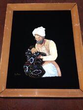 """Vintage Black Velvet Oil Man Turban Painting Wood Frame 16 1/4"""" X 20 1/2"""""""