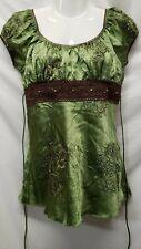 Heart & Soul Women's Shirt Sleeve Blouse - Green/Brown Paisley Shimmers Sz M EUC