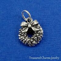 .925 Sterling Silver CHRISTMAS WREATH CHARM PENDANT *NEW*