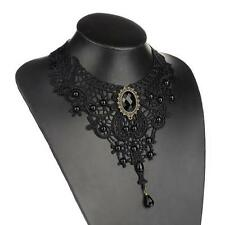Fashion Wedding Jewelry Women Girls Black Crystal Lace Beads Choker Necklace New