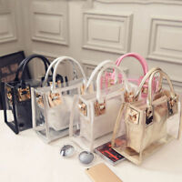 Women Transparent Handbag Shoulder Bag Clear Jelly Purse Clutch Plastic Tote CHG