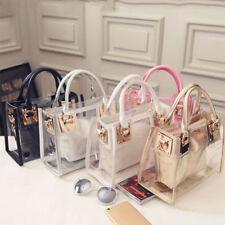 Women Transparent Handbag Shoulder Bag Clear Jelly Purse Clutch Plastic Tote CHG