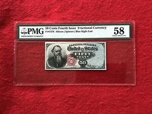 "FR-1376 Fourth Issue Fractional Currency 50c Fifty Cents ""Stanton""*PMG 58 Ch AU*"