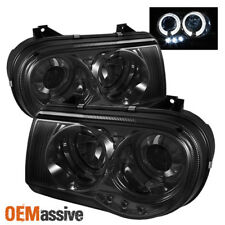 Fits Smoked 05-10 Chrysler 300C Halo Projector LED Headlights Lights Left+Right