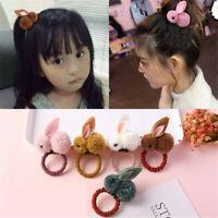Kids Girls Elastic Rope Hair Ties Rabbit Pom Ball Head Band Hairbands XMAS Gifts