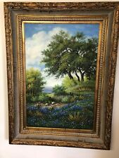 Vintage Oil Painting Beautiful Outdoor Setting Mountains 24x36 Framed Stunning