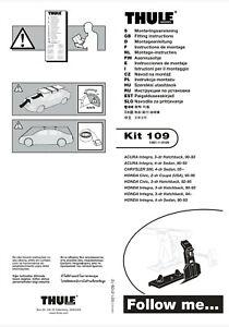 Thule Fit Kit 109 (Honda civic, Honda prelude, Acura integra)