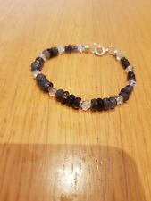 925 Sterling Silver Faceted Shaded Iolite And AB Swarovski Bicone Bracelet