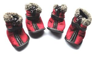 Petrageous Cheyenne Shearling Faux Suede Dog Boots Red Small