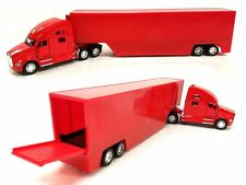 "KINSMART 1:68 DISPLAY KENWORTH T700 CONTAINER Red ""PULL BACK CAR"" Semi Trucks"