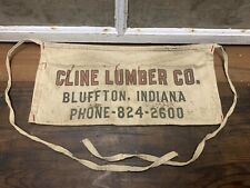 Vintage Old Cline Lumber Co Waist Apron Tool Nail Holder Bluffton Indiana Cloth