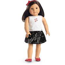 💕 American Girl Doll Con Lentejuelas Falda Traje De Diadema Rojo pisos retirado 💕
