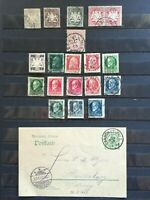 BAVARIA (BAYERN) 1876-1920: 19 stamps (with 1 perfin) + 1907 postcard, used