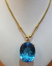 14K yellow Gold Necklace Pendant   92.60 carat Natural blue topaz oval shape