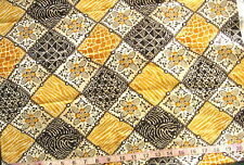 "100% Cotton Fabric ""Maya"" by Quilting Treasures Diamond Squares in Golds/Black"