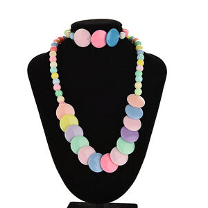 Colorful Beads Necklace&Bracelet Set Party Jewelry for Kids Baby Girls S j C1