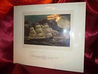 Vintage Art Print CLIPPER SHIP DREADNOUGHT off TUSKAR LIGHT Nautical Maritime