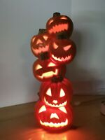 "Vintage 18"" Halloween Foam Blow Mold Lighted Pumpkin Stack Totem Trendmasters"