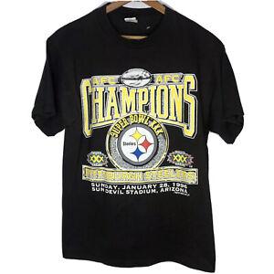 New Vintage 1996 Super Bowl 30 Steelers  T Shirt Adult Large 90s Black Logo 7
