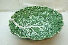 BORDALLO PINHEIRO GREEN CABBAGE LARGE SALAD SERVING BOWL 12.75in MAJOLICA LEAF