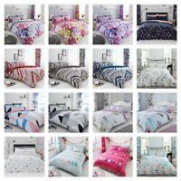 DUVET COVER SET Quilt Pillow Cases Reversible Soft Bedding Grey Double King Size