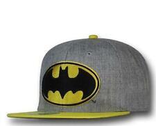 NEW MENS BATMAN GRAY YELLOW HAT CAP OSFM DC COMICS ADJUSTABLE CLOSURE BLACK