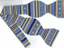 Nautical Bow tie / Navy Blue & Tan Stripes with Stars / Self-tie Bow tie