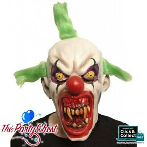 EVIL HORROR CLOWN LATEX MASK WITH TRI POINT GREEN WIG Halloween Costume Mask