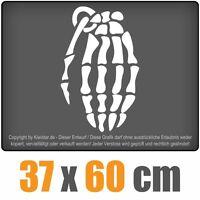 Knochen Skelett Handgranate  chf0442 weiß 60 x 33 cm Heckscheibenaufkleber chf