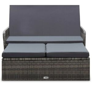 2 Piece Garden Lounge Set with Cushions Poly Rattan Gray