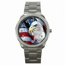 Bald Eagle American Pride USA Flag Stainless Steel Sport Watch New!