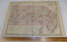 """1864 Antique Johnson's HAND-COLOR MAP//PENNSYLVANIA, NEW JERSEY//18x26"""""""