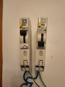 2 X Square D RCBO B32 QOE BS4293 30mA