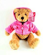 Gund Macy's Breast Cancer Teddy Bear Plush Velour Pink Hoodie Awareness Ribbon