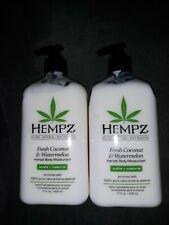 Lot of 2 HEMPZ Fresh Coconut & Watermelon Herbal Moisturizing Lotion 500ml each