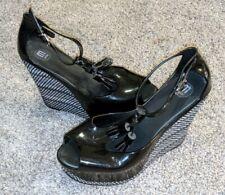 Melissa black Jelly Peep Toe Mary Jane Wedge High Heels Brazil Size 9/38
