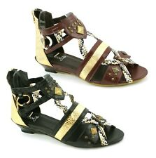 LADIES WOMENS LOW HEEL WEDGE SUMMER SANDALS BUCKLE STRAP GLADIATOR SHOES SIZE