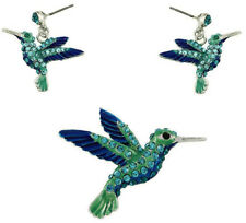 Beautiful Bird Hummingbird Pendant Necklace and Earring Set Fast Shipping