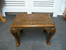 Solid Oak Carved Stool Small Table Mid 20th Century