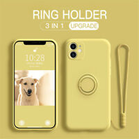 For iPhone 11 Pro Max XS XR 8 7 SE 2 Liquid Silicone Strap Ring Soft Case Cover