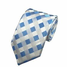 Light Blue Tie and White Check Patterned Handmade 100% Silk Necktie